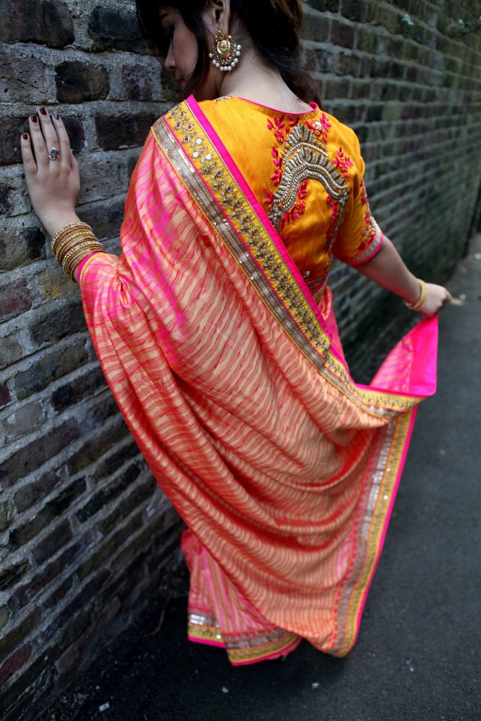 Indian fashion blogger Diwali Look wedding Sari from India London