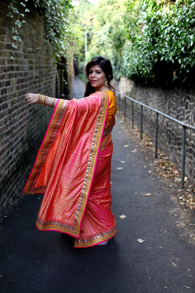 Indian fashion blogger Diwali Look Sari from India London