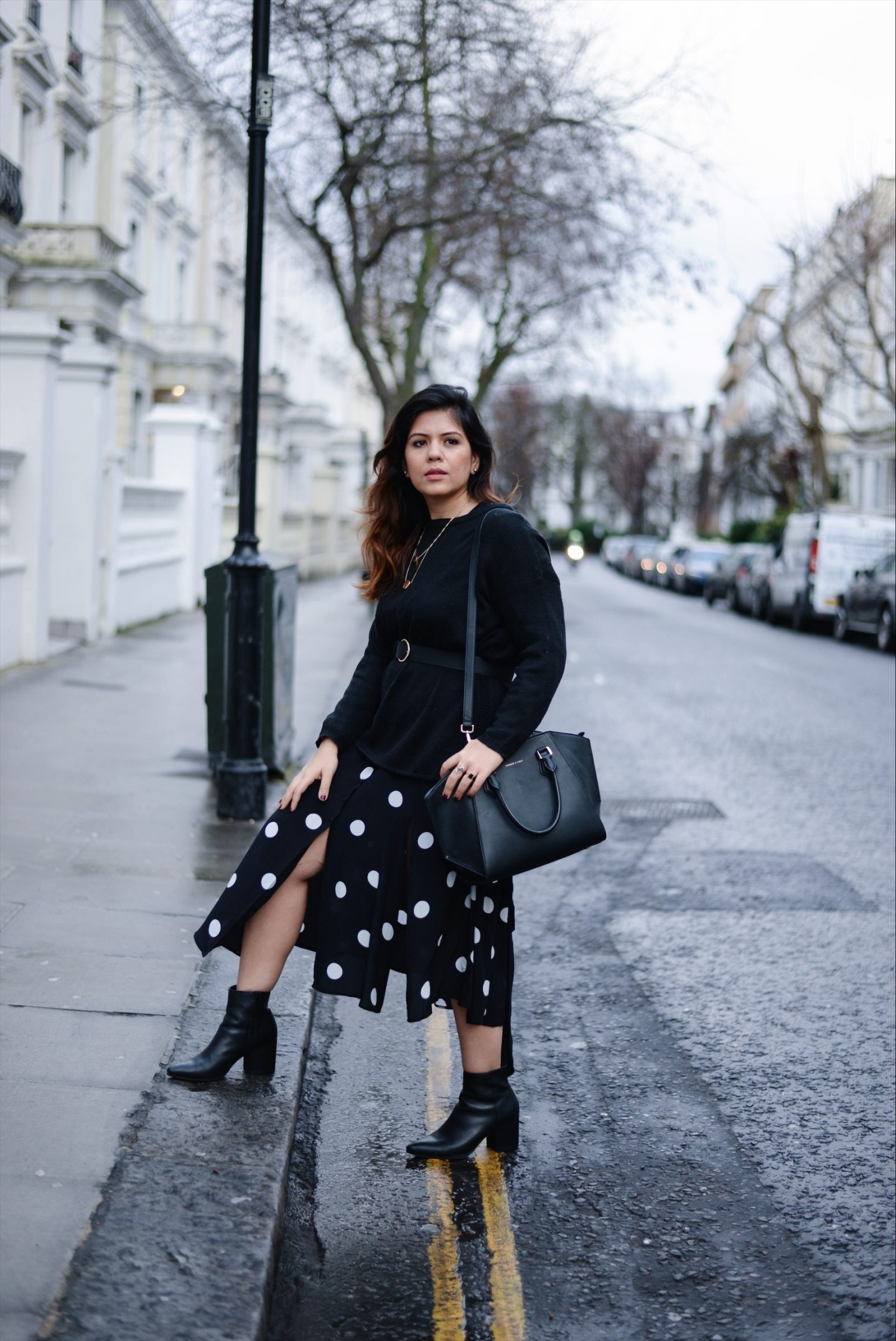 polka dot dress london fashion blogger