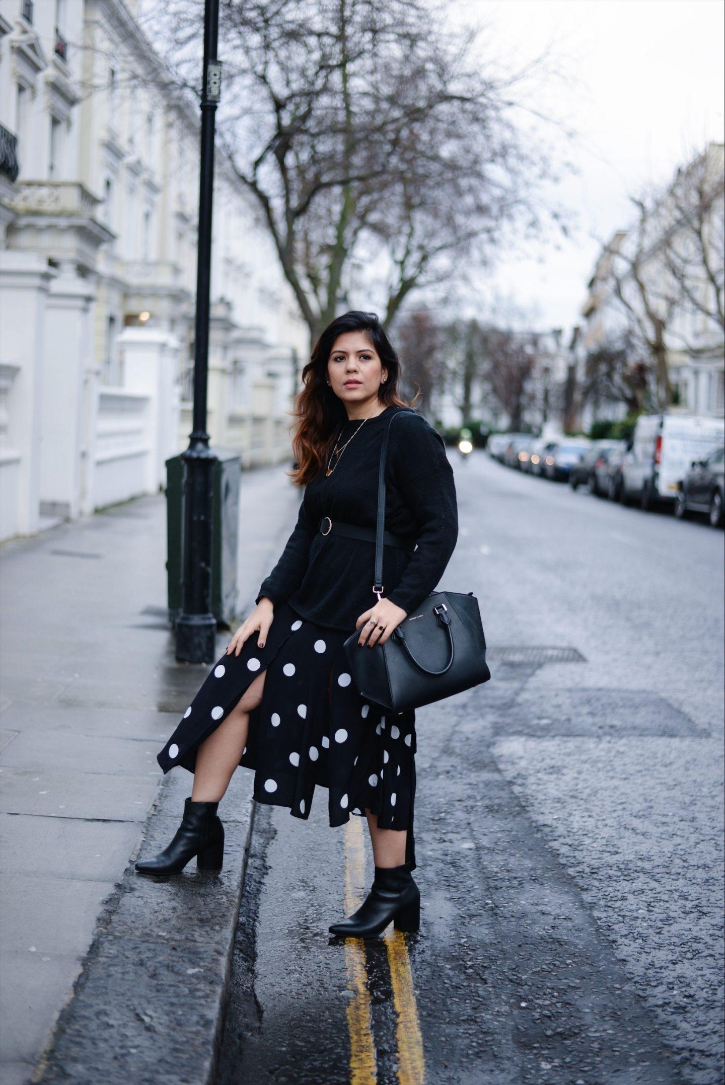 polka dot dress london fashion blogger